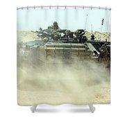 An Amphibious Assault Vehicle Kicks Shower Curtain