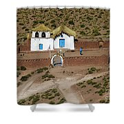 The Ancient Church At  Machuca In The Atacama Desert Shower Curtain