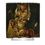 An Anthropomorphic Still Life With Pots Pans Cutlery A Loom And Tools Shower Curtain