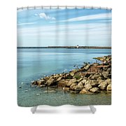 An April Morning - Lyme Regis Shower Curtain
