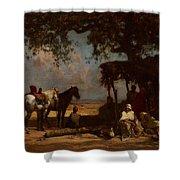 An Arab Encampment Shower Curtain by Gustave Guillaumet