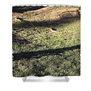 An Arlington Grave With Flowers And Shadows Shower Curtain