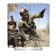 An Army Soldier Informs A Marine Shower Curtain