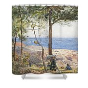 An Artist Painting By The Sea Shower Curtain