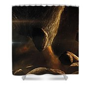 An Asteroid Field Next To An Earth-like Shower Curtain