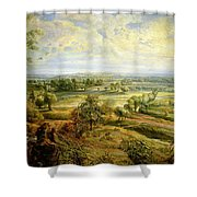 An Autumn Landscape With A View Of Het Steen In The Early Morning Shower Curtain