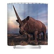An Elasmotherium Grazing Shower Curtain