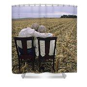 An Elderly Couple Embrace Shower Curtain