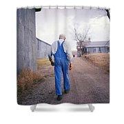 An Elderly Farmer In Overalls Walks Shower Curtain