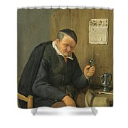 An Elderly Man Seated Holding A Wineglass Shower Curtain