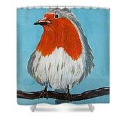 An English Robin Shower Curtain