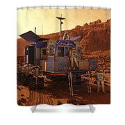An Explorer Departs A Manned Rover Ina Shower Curtain