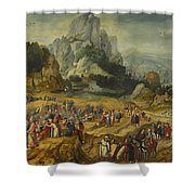 An Extensive Landscape With The Preaching Of Saint John The Baptist And The Baptism Of Christ Shower Curtain