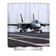 An F-14d Tomcat Makes An Arrested Shower Curtain