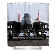 An F-14d Tomcat On The Flight Deck Shower Curtain