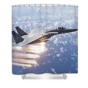 An F-15 Eagle Releases Flares Shower Curtain