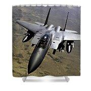 An F-15e Strike Eagle Aircraft Shower Curtain