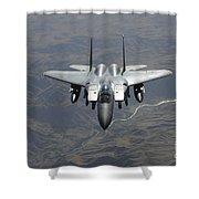 An F-15e Strike Eagle Flies Watch Shower Curtain