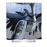An F-15e Strike Eagle Refuels Over Iraq Shower Curtain