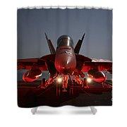 An Fa-18f Super Hornet Parked Shower Curtain