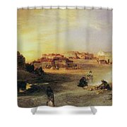 An Indian Pueblo Shower Curtain by Thomas Moran