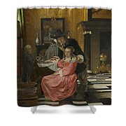An Interior With A Woman Refusing A Glass Of Wine Shower Curtain