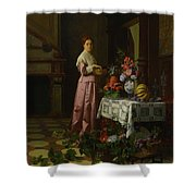 An Interior With Fruit And Flowers Shower Curtain