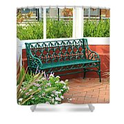 An Inviting Bench Shower Curtain