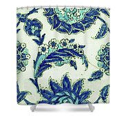 An Iznik Blue And White Pottery Tile, Turkey, 17th Century, By Adam Asar, No 18b Shower Curtain