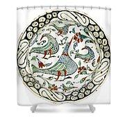 An Iznik Polychrome Pottery Dish With Birds Shower Curtain