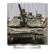 An M1a1 Abrams Tank Heading Shower Curtain by Stocktrek Images
