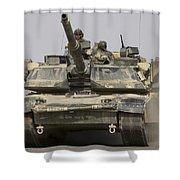 An M1a1 Abrams Tank Heading Shower Curtain