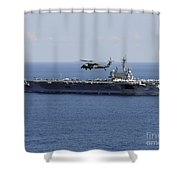 An Mh-60s Seahawk Helicopter Flies Shower Curtain by Stocktrek Images