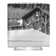 An Obdurate Sinner Lives Here. B And W   Shower Curtain