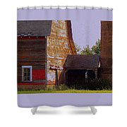 An Old Barn And Silo Shower Curtain
