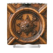 An Old Carved Wooden Door Shower Curtain