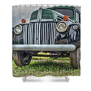 An Old Green Ford Truck Shower Curtain
