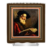 An Old Man Reading P B With Decorative Ornate Printed Frame. Shower Curtain