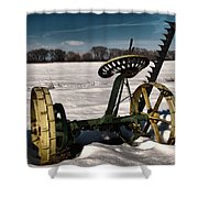 An Old Mower In The Snow Shower Curtain