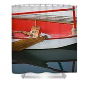 An Old Sailboat Tied To The Dock Shower Curtain