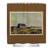 An Old Scottish Cottage Overlooking A Loch  L A S  With Decorative Ornate Printed Frame. Shower Curtain