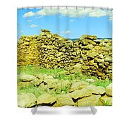 An Old Wall At The Pecos Ruins Shower Curtain