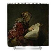 An Old Woman Reading - Prophetess Hannah Shower Curtain