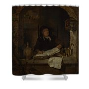 An Old Woman With A Book Shower Curtain