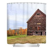 An Old Wooden Barn In Vermont. Shower Curtain