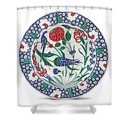 An Ottoman Iznik Style Floral Design Pottery Polychrome, By Adam Asar, No 1 Shower Curtain
