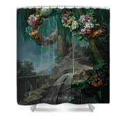 An Outdoor Scene With A Spring Flowing Into A Pool Shower Curtain