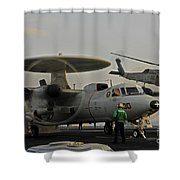 An Sh-60f Sea Hawk Helicopter Lifts Off Shower Curtain