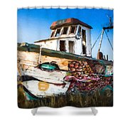 An Wooden Old Ship 2 Shower Curtain