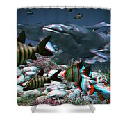 Anaglyph Whales Shower Curtain